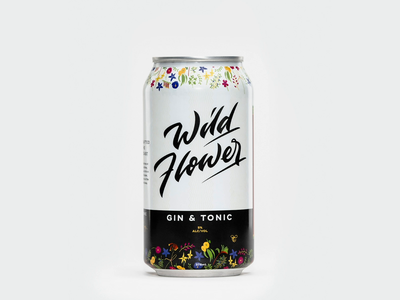 Wild Flower Gin & Tonic Can Rotation calligraphy gin wild flower flower alcohol logo lettering can design distillery alcohol packaging alcohol branding