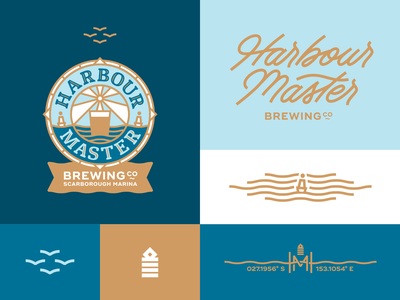 Harbour Master Brewing Co mark emblem logo logotype nautical harbour craft beer brewery lettering logo