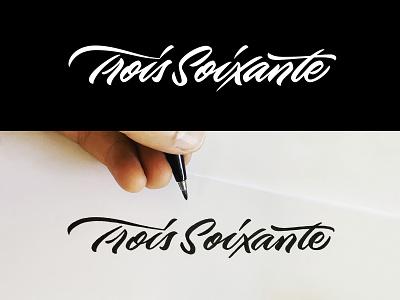 Trois Soixante brush pen cursive calligraphy branding lettering logo