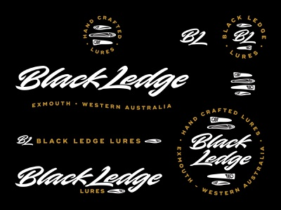 Black Ledge Lures emblem monogram lures fishing calligraphy branding lettering logo