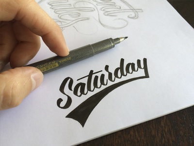 Saturday lettering brush pen cursive hand drawn saturday signature calligraphy praciticing