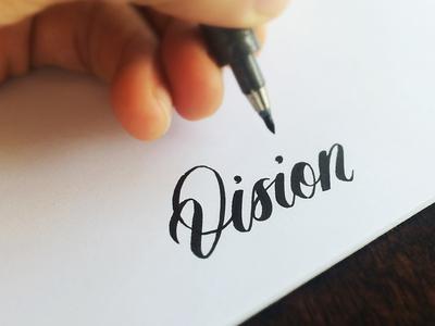 Vision lettering brushpen typography script type cursive calligraphy logo