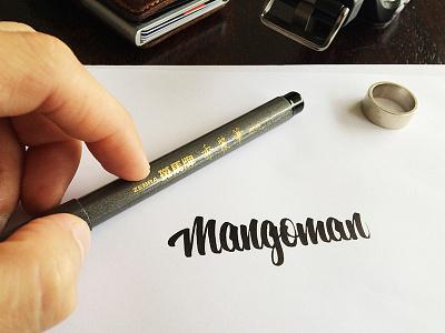 Mangoman! lettering brushpen typography script type cursive calligraphy logo mango