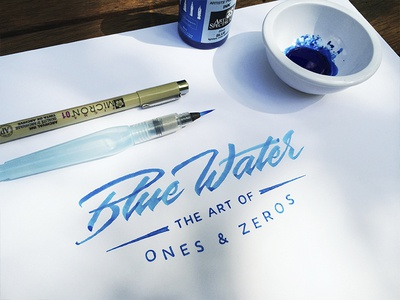 Blue Water lettering brushpen typography script type cursive calligraphy logo blue water ink