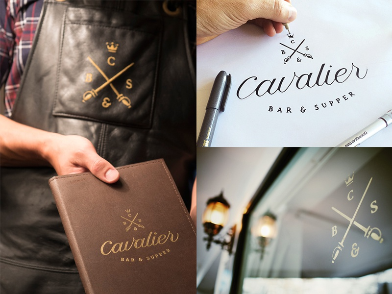 Cavalier - The End Result! logo calligraphy cursive type script typography brushpen lettering restaurant bar sword crown