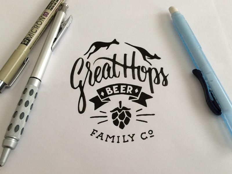 Great Hops lettering illustration kangaroo beer label hop family banner concept crest