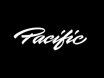 Pacific lettering cursive brushpen logo calligraphy pacific surfing ocean