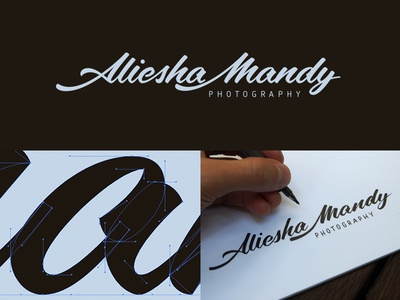 Aliesha Mandy photography vector calligraphy signature logo hand drawn cursive brush pen lettering