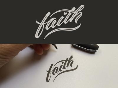 Faith faith charity calligraphy vector logo hand drawn cursive brush pen lettering