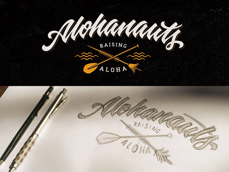 Alohanauts calligraphy process t-shirt logo hand drawn cursive brush pen lettering