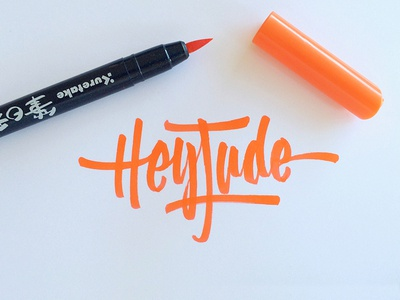 Hey Jude beatles brush pen logo script calligraphy lettering