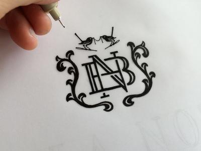 NB Monogram vines rose birds emblem crest n b bn process monogram sketch lettering