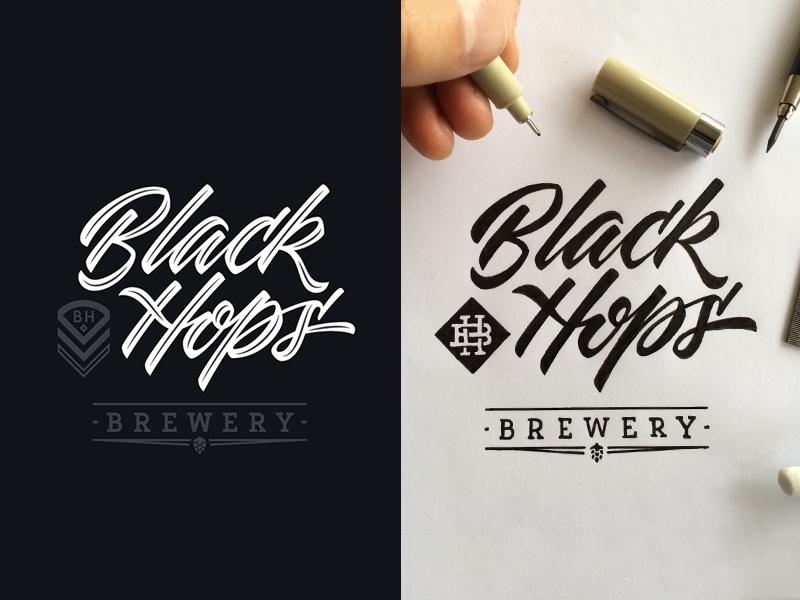 Black Hops label beer process monogram hand drawn sketch lettering