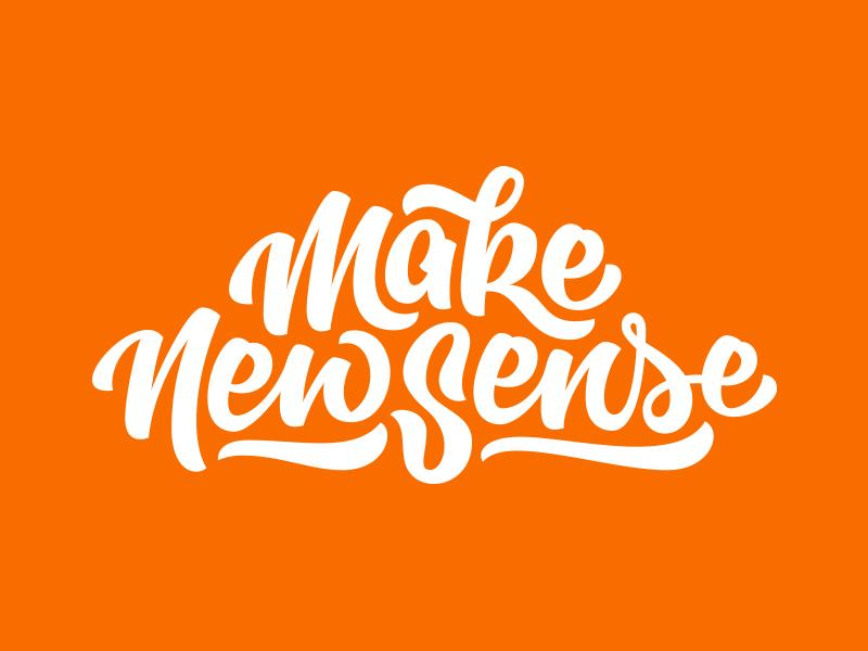 Make New Sense brush pen logo script calligraphy lettering