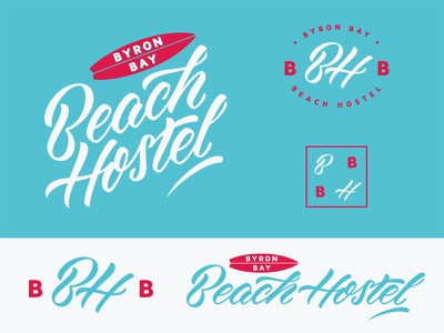 Byron Bay Beach Hostel hostel surfboard byron bay cursive lettering visual identity australia gold coast font custom type logo