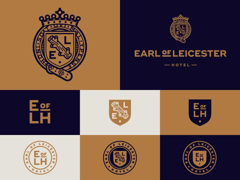 Earl Of Leicester identity badge monogram crown shield emblem logo crest