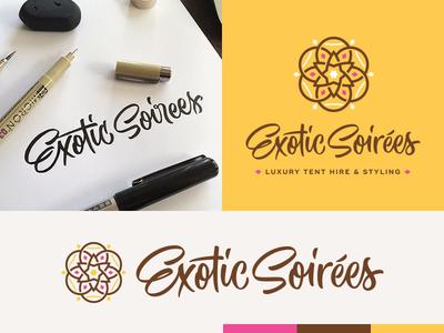 Exotic Soirées calligraphy brush pen mandala process lettering logo