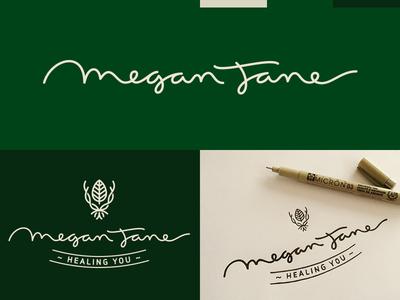 Megan Jane herbs leaf calligraphy brush pen sketch process lettering logo