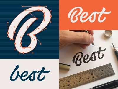 Best process b vector custom typeface script calligraphy lettering
