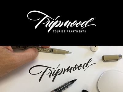Tripmood brush pen process vector custom typeface script calligraphy lettering