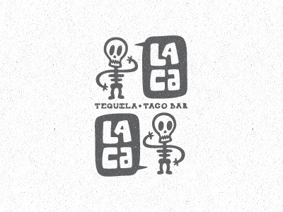 Lacalaca New Direction branding corporate identity logo logo design verg verg advertising matt vergotis design agency bar food restaurant mexican hand drawn skull speech bubble texture weathered