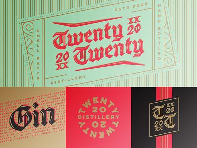 2020 identity pattern alcohol calligraphy monogram emblem lettering gin blackletter branding logo packaging