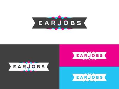 Earjobs corporate identity logo design logotype ear plugs hearing ear sound waves logo