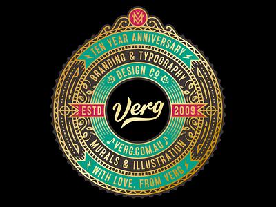10 Year Anniversary mv monogram beer hops anniversary crest emblem lettering logo