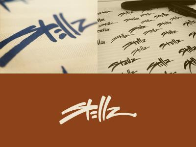 Stellz branding corporate identity logo logo design verg verg advertising matt vergotis design agency custom font hand written signature lettering brush pens gold coast australia