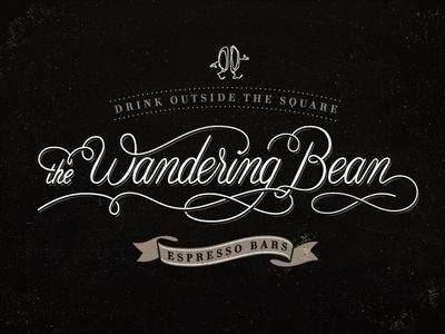 The Wandering Bean branding corporate identity gold coast logo logo design verg verg advertising matt vergotis design agency lettering custom type font typeface cursive swirl coffee coffee bean scroll banner espresso
