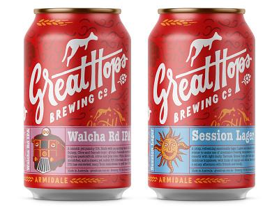 Great Hops craftbeer craft train sun kangaroo firetruck emblem hops brewery illustration logo beer beer can