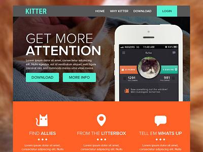 Kitter Landing Page kitter landing website app cats geomicons proxima nova