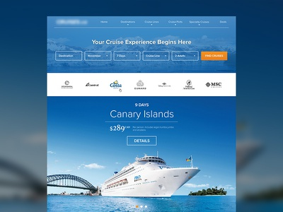 Cruise Site Mockup travel cruises
