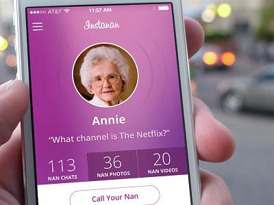 Instanan ui iphone mobile app flat clean interface nan grandma instanan
