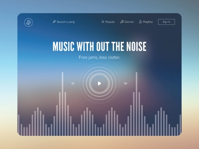 Lightweight Music Web App ui app flat clean web design music stream