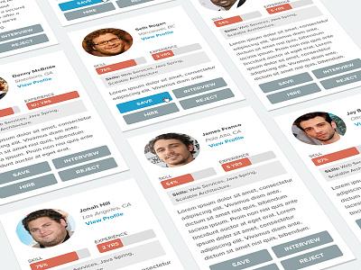 Dev Profile Cards flat ui social employee developer hire card profile