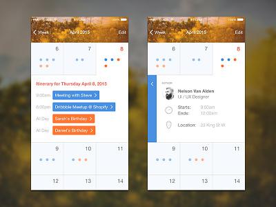 Custom iOS Calendar spring calendar flat ios app mobile iphone