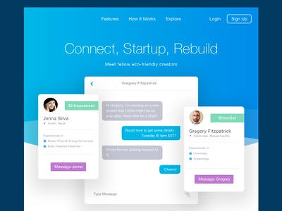Connect, Startup, Rebuild web ux ui toronto environment startup message chat material flat app