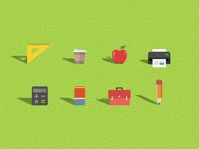 Flat school icons icons flat school playful education