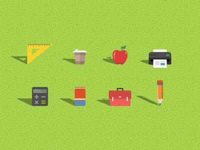 Flat school icons icons flat school playful education
