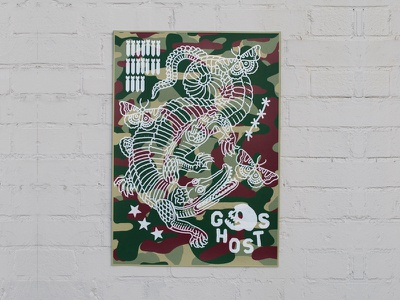 Ghost Croc print layer skull ghost army camo screenprint