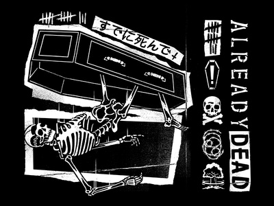 Already Dead bones coffin spooky illustration apocalypse skeleton merch