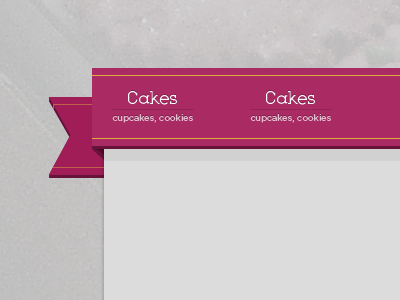 Cakes and cookies photoshop ribbon navigation nav header ripe gotham book