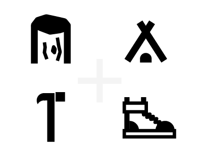 Thick camp icons camp nature icon bold thick tent boot wood log hammer illustrator
