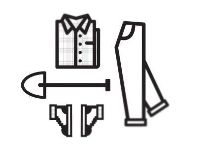 More camp icons boot plaid shovel illustrator branding shirt pants shoe icon