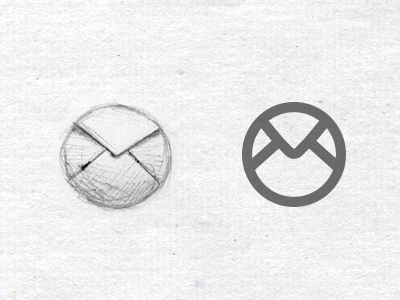 Round Mail icon circle mail icon app sketch paper pen