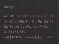 Range, a font