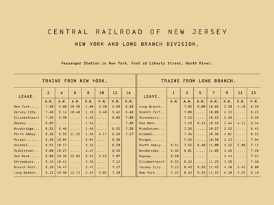 Range Mono Railroad Schedule type old letters font table