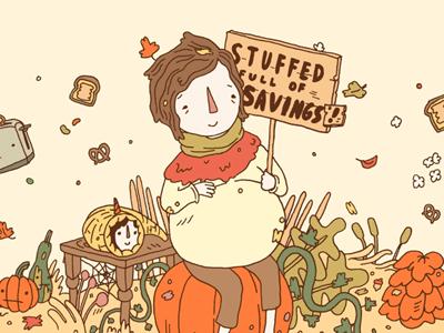 Carbonmade Thanksgiving promo illustration holiday pumpkin lines harvest