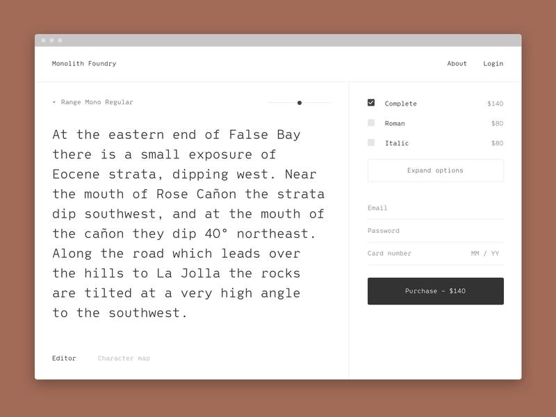 Monolith Foundry V1 type design font typography storefront app